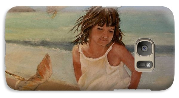 Galaxy Case featuring the painting Girl And The Seagulls by Ceci Watson