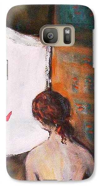Galaxy S7 Case featuring the painting Girl At The Window by Winsome Gunning