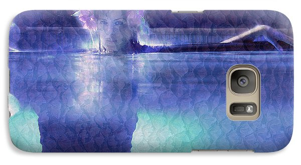 Galaxy Case featuring the photograph Girl In Pool At Night by Michael Edwards