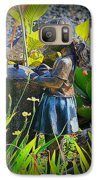 Galaxy Case featuring the photograph Girl In The Garden by Lori Seaman