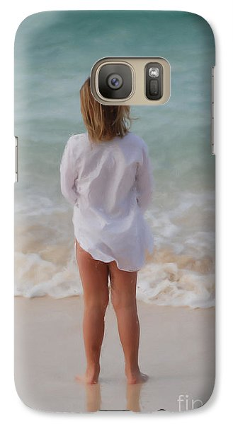 Galaxy Case featuring the painting Girl On The Beach by Jan Daniels