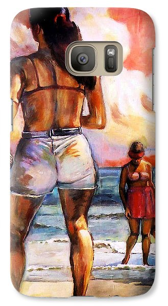 Galaxy Case featuring the painting Girl On The Beach by Stan Esson