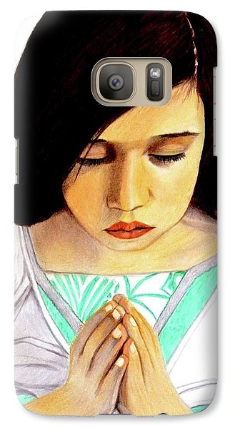 Galaxy Case featuring the drawing Girl Praying Drawing Portrait By Saribelle by Saribelle Rodriguez