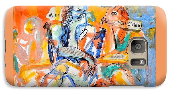 Galaxy Case featuring the painting Girl Talk by Mary Schiros