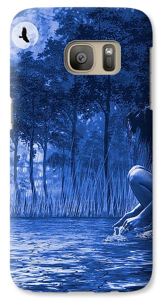 Galaxy Case featuring the photograph Girl Washing At The River by Diane Schuster