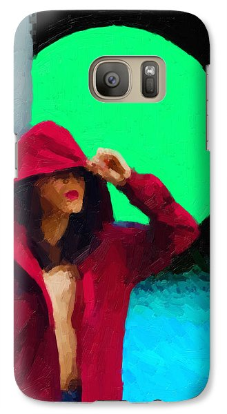 Galaxy Case featuring the digital art Girl Wearing A Maroon Hoodie by Serge Averbukh