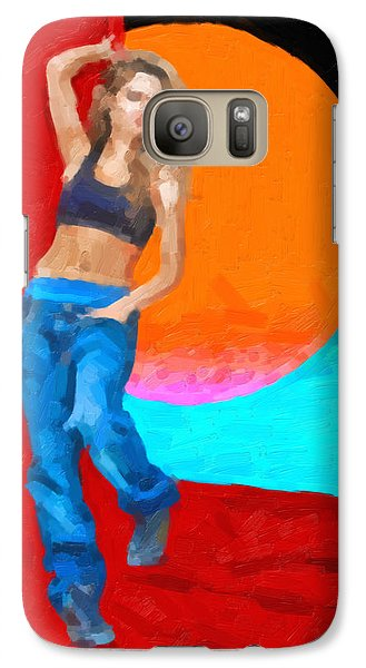 Galaxy Case featuring the digital art Girl Wearing Blue Jeans by Serge Averbukh