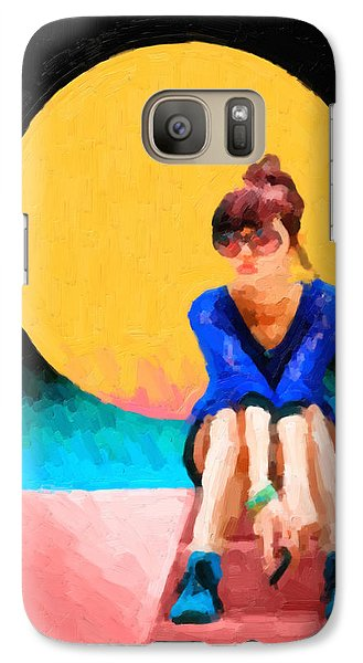 Galaxy Case featuring the digital art Girl Wearing Teal Sneakers by Serge Averbukh