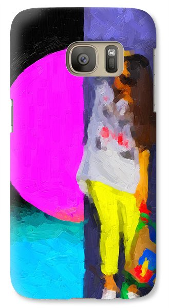 Galaxy Case featuring the digital art Girl Wearing Yellow Jeans by Serge Averbukh
