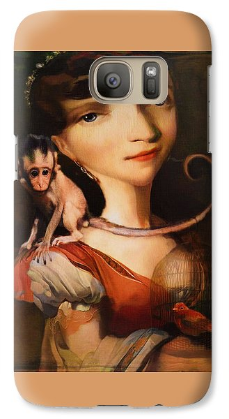 Galaxy Case featuring the photograph Girl With A Pet Monkey by Sharon Jones