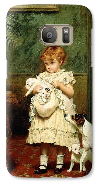 Great White Shark Galaxy S7 Case - Girl With Dogs by Charles Burton Barber