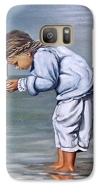 Galaxy Case featuring the painting Girl With Shell by Natalia Tejera