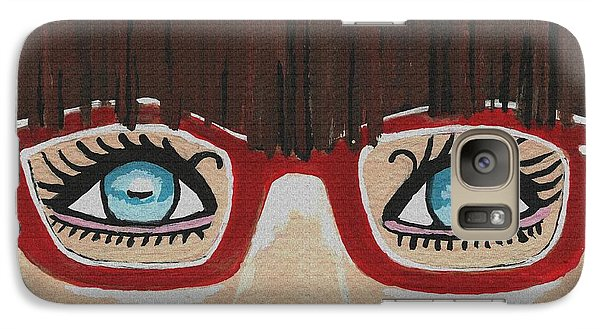 Galaxy Case featuring the painting Girl With The Red Glasses by Kathleen Sartoris