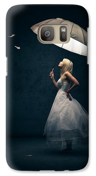 Girl With Umbrella And Falling Feathers Galaxy S7 Case by Johan Swanepoel