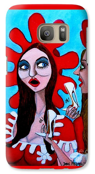 Galaxy Case featuring the painting Countrygirls Amazed By A Pair Of Stilettos by Don Pedro De Gracia