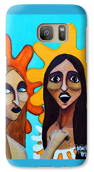 Galaxy Case featuring the painting Girls Caught In Fraganti by Don Pedro De Gracia