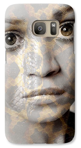 Galaxy Case featuring the photograph Girls Face With Snake Skin Texture by Michael Edwards