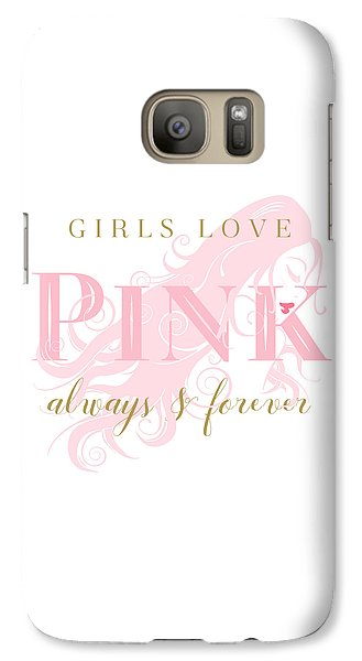 Galaxy Case featuring the digital art Girls Love Pink Woman Silhouette by Tracie Kaska