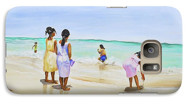 Galaxy Case featuring the painting Girls On The Beach by Patricia Piffath