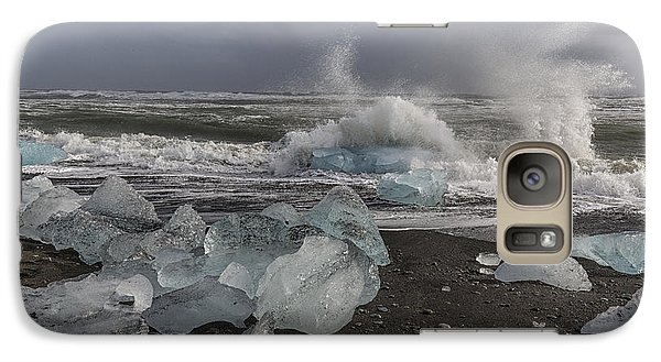 Galaxy Case featuring the tapestry - textile Glacial Lagoon Iceland 2 by Kathy Adams Clark