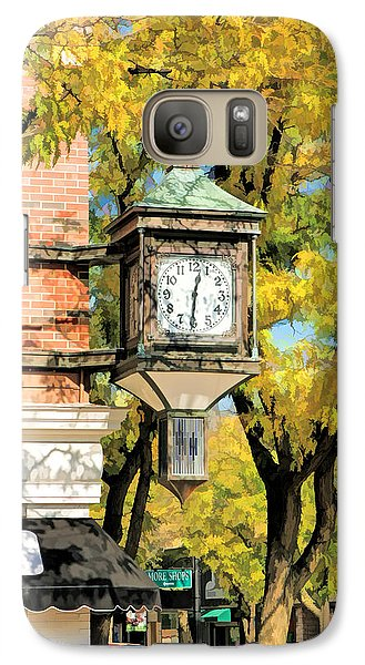 Galaxy S7 Case featuring the painting Glen Ellyn Corner Clock by Christopher Arndt