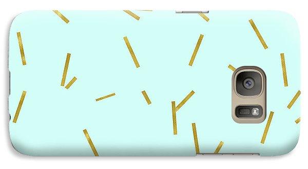 Glitter Confetti On Aqua Gold Pick Up Sticks Pattern Galaxy S7 Case
