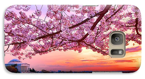 Glorious Sunset Over Cherry Tree At The Jefferson Memorial  Galaxy Case by Olivier Le Queinec
