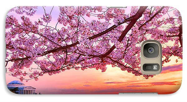 Glorious Sunset Over Cherry Tree At The Jefferson Memorial  Galaxy S7 Case by Olivier Le Queinec