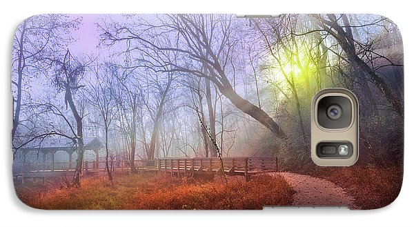 Galaxy Case featuring the photograph Glowing Through The Trees by Debra and Dave Vanderlaan