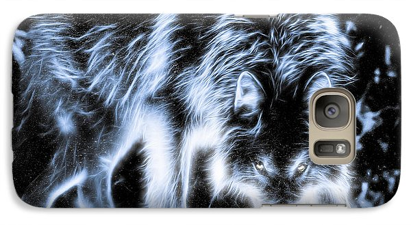 Galaxy S7 Case featuring the photograph Glowing Wolf In The Gloom by Rikk Flohr