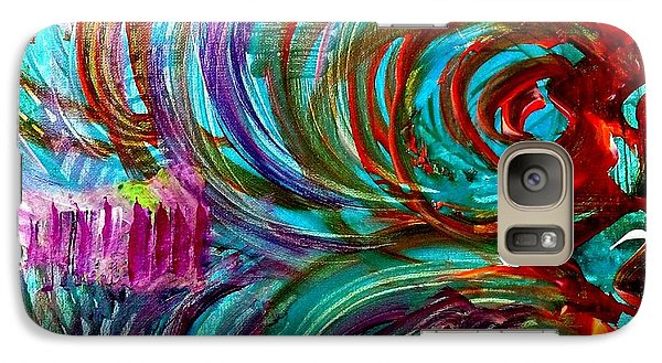 Galaxy Case featuring the painting Go With The Flow by Julie  Hoyle