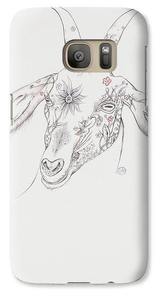 Galaxy Case featuring the drawing Goat by Karen Robey