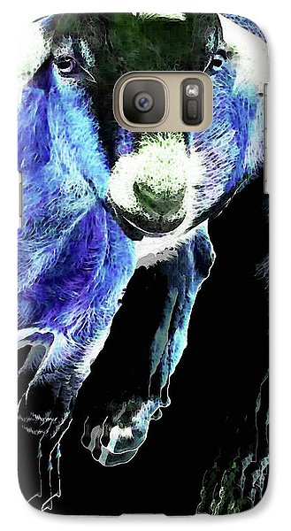 Goat Pop Art - Blue - Sharon Cummings Galaxy Case by Sharon Cummings