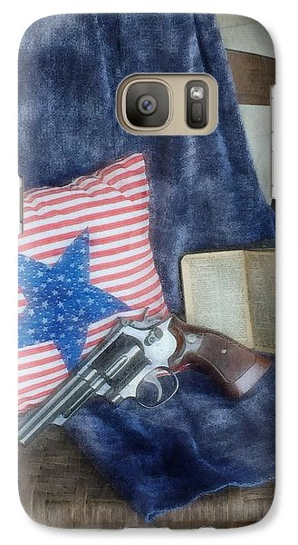 Galaxy Case featuring the photograph God, Guns And Old Glory by Benanne Stiens