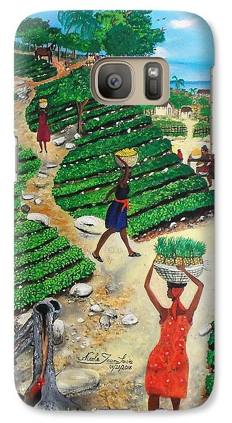 Galaxy Case featuring the painting Going To The Marketplace #4 -  Walking Through The Terraces by Nicole Jean-Louis