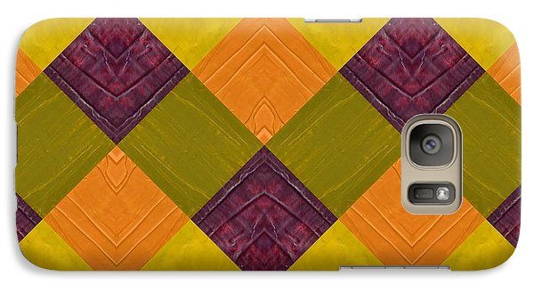 Galaxy Case featuring the painting Gold And Green With Orange 2.0 by Michelle Calkins