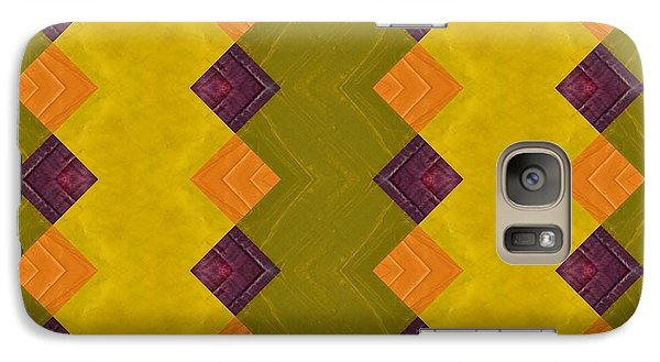 Galaxy Case featuring the painting Gold And Green With Orange  by Michelle Calkins
