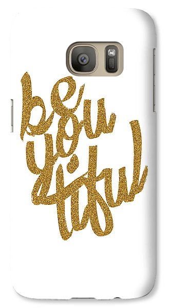 Galaxy Case featuring the digital art Gold 'beyoutiful' Typographic Poster by Jaime Friedman