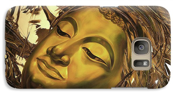 Galaxy Case featuring the painting Gold Buddha Head by Chonkhet Phanwichien