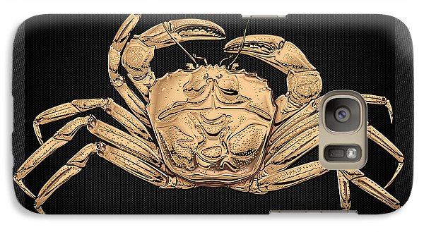 Galaxy Case featuring the digital art Gold Crab On Black Canvas by Serge Averbukh