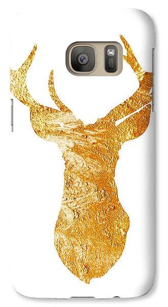 Gold Deer Silhouette Watercolor Art Print Galaxy Case by Joanna Szmerdt