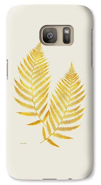 Galaxy S7 Case featuring the mixed media Gold Fern Leaf Art by Christina Rollo