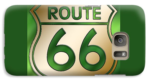 Galaxy Case featuring the digital art Gold Route 66 Sign by Chuck Staley