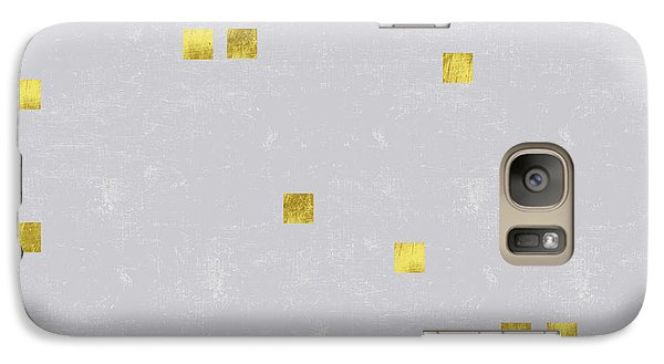 Gold Scattered Square Confetti Pattern On Grey Linen Texture Galaxy Case by Tina Lavoie