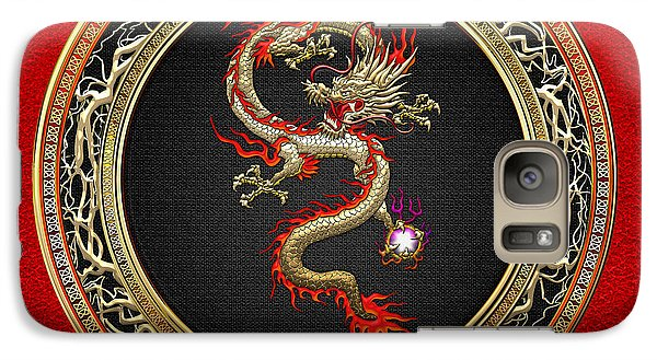Golden Chinese Dragon Fucanglong On Red Leather  Galaxy S7 Case by Serge Averbukh