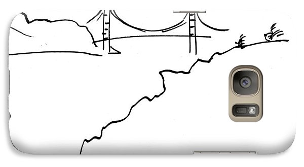 Galaxy Case featuring the drawing Golden Gate Bridge by Patrick Morgan