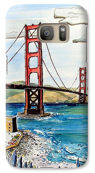 Galaxy Case featuring the painting Golden Gate Bridge by Terry Banderas