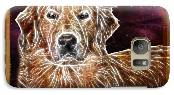 Galaxy Case featuring the photograph Golden Glowing Retriever by EricaMaxine  Price