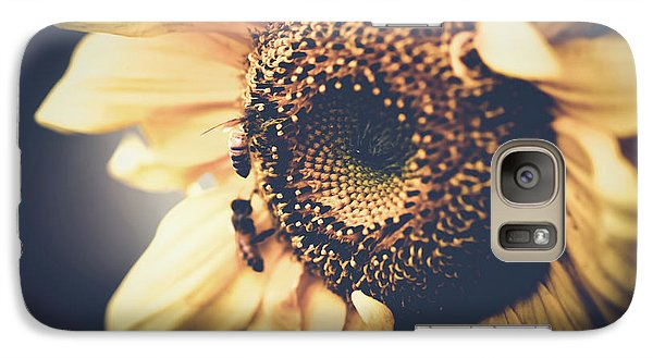 Galaxy Case featuring the photograph Golden Honey Bees And Sunflower by Sharon Mau