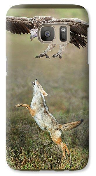 Golden Jackal, Canis Aureus, Leaping At Vulture Galaxy S7 Case